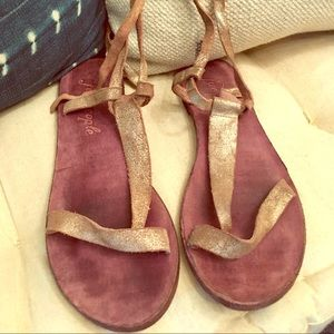 Free People Gold Grecian Wrap Sandals 38 8